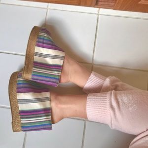 Multicolor Canvas Wedge Slides  (Chinese Laundry)